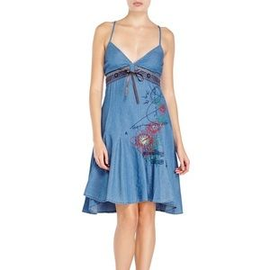 Desigual | Denim Embroidered Racerback Dress